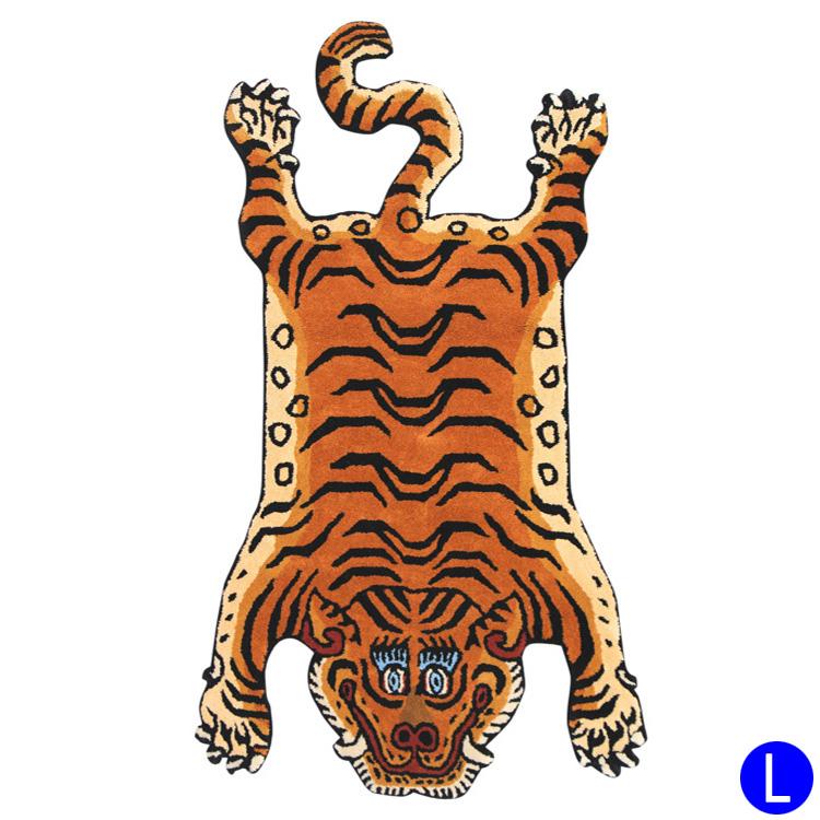 チベタン タイガーラグ ブルー DTTR-01L ラージ 長さ160×幅90cm ラグマット 玄関マット リビング トラ 敷物 アメリカ雑貨 アメリカン雑貨