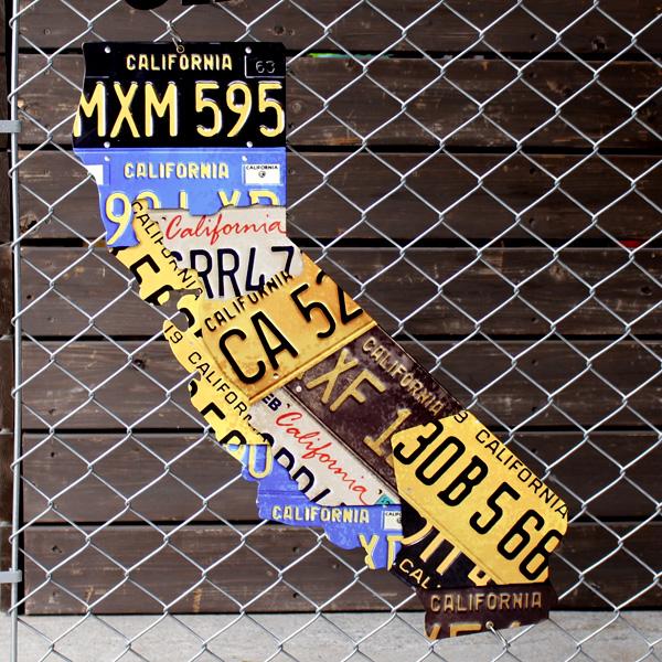 アメリカンスティールサイン「CALIFORNIA LICENSE PLATE」 PS-096 カリフォルニアライセンスプレート メタルサイン 看板 西海岸インテリア アメリカ雑貨 アメリカン雑貨
