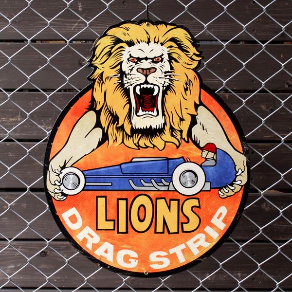 アメリカンスティールサイン「Lions Drag Strip」 PS-093 ライオン ドラッグストリップ メタルサイン 看板 アメリカ雑貨 アメリカン雑貨