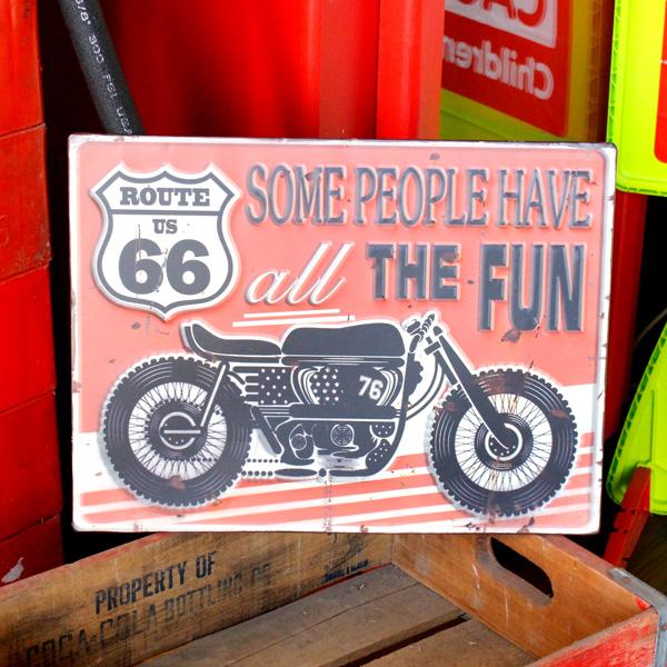 ヴィンテージルックのメタルサイン アンティークエンボスプレート Route 66 Motorbike ブリキ製看板 RECTサイン ティンサイン アメリカン雑貨 低価格化 お気に入り アメリカ雑貨