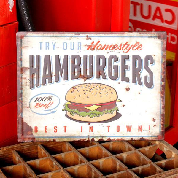 ヴィンテージルックのメタルサイン アンティークエンボスプレート 新着セール Humburgers RECTサイン アメリカン雑貨 ティンサイン アメリカ雑貨 激安格安割引情報満載 ブリキ製看板