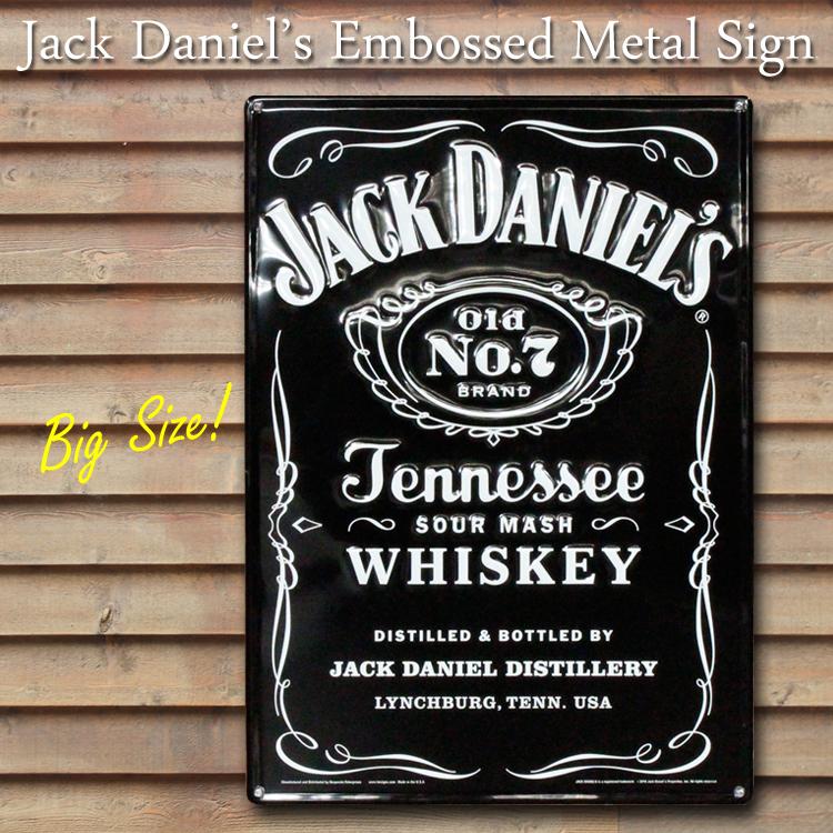 インテリア 装飾 ビッグメタルサイン ジャックダニエル スクエアラベル Jack Daniel's 47×66cm 大型看板 ブリキ看板 アメリカ雑貨 アメリカン雑貨