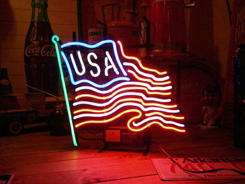 ネオンサイン USA FLAG ネオン管 照明 店舗装飾 インテリア ガレージング アメリカ雑貨 アメリカン雑貨