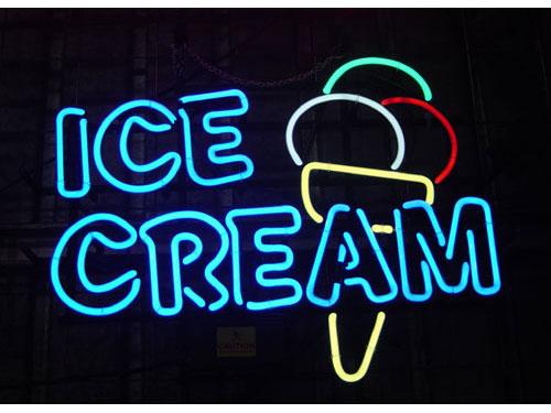 アメリカンインテリアには欠かせない ネオンサイン <ICE CREAM> サイズ:49×38cm ネオン管 照明 店舗装飾 インテリア ガレージング アメリカ雑貨 アメリカン雑貨