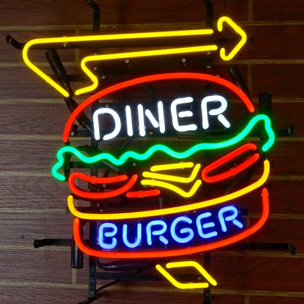 ネオンサイン BURGER DINER バーガーダイナー ネオン管 レストラン フード系 ガレージング アメリカ雑貨 アメリカン雑貨