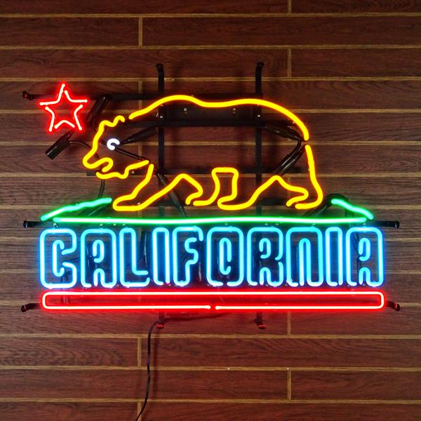 ネオンサイン CALIFORNIA カリフォルニアの州旗デザイン ネオン管 インテリア ガレージング 西海岸インテリア アメリカ雑貨 アメリカン雑貨