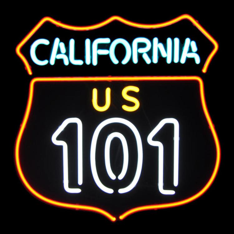 アメリカンネオンサイン <CALIFORNIA 101 カリフォルニア101>サイズ:51×51cm ネオン管 ガレージング 西海岸インテリア アメリカ雑貨 アメリカン雑貨