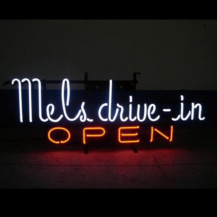 アメリカンネオンサイン <MEL'S DRIVE-IN メルズドライブイン>サイズ:26×78cm ネオン管 ガレージング アメリカ雑貨 アメリカン雑貨