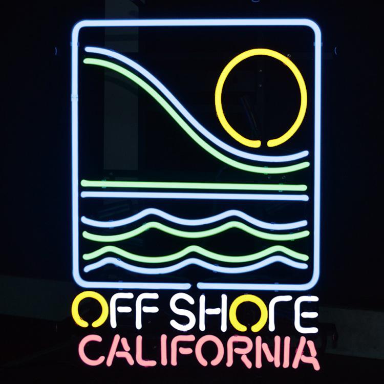 アメリカンネオンサイン <OFF SHORE CALIFORNIA オフショア カリフォルニア>サイズ:56×40cm サーフインテリア 西海岸インテリア ネオン管 ガレージング アメリカ雑貨 アメリカン雑貨