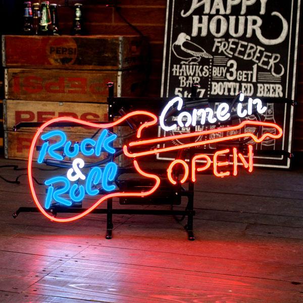 アメリカンネオンサイン GUITAR OPEN (ギターオープン ) ネオン管 ロック柄 アメリカ雑貨 アメリカン雑貨