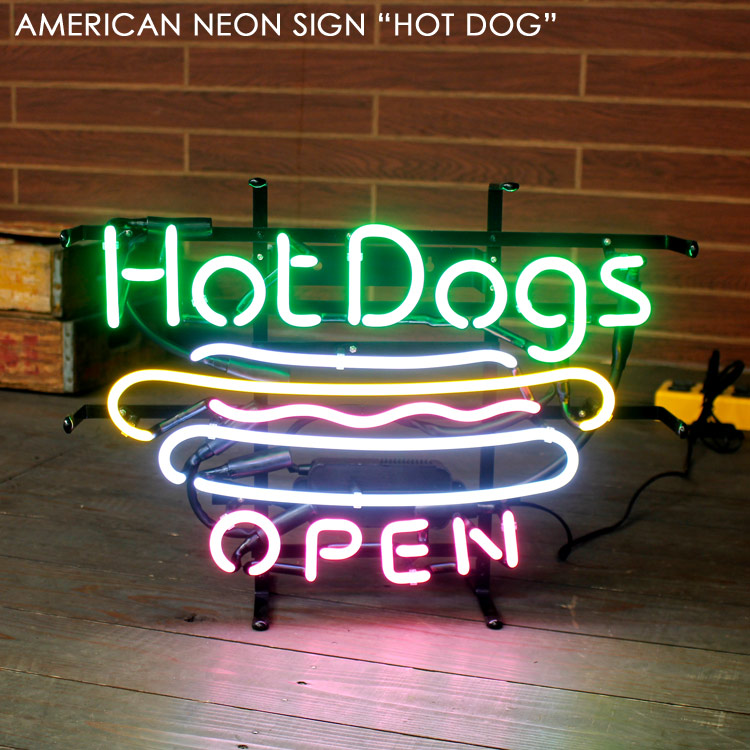 アメリカンネオンサイン HOT DOG (ホットドッグ )H370×W505mm ネオン管 照明 店舗装飾 アメリカ雑貨 アメリカン雑貨