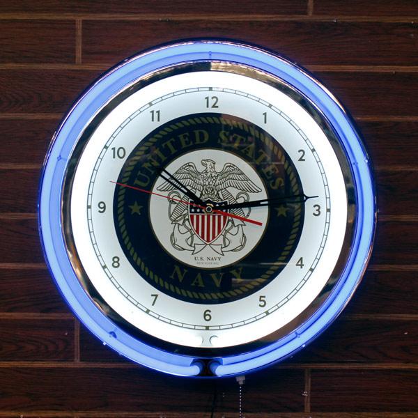18インチダブルネオンクロック「U.S.NAVY」 (USネイビー ) 大型ネオンクロック 壁掛け時計 インテリア アメリカ雑貨 アメリカン雑貨