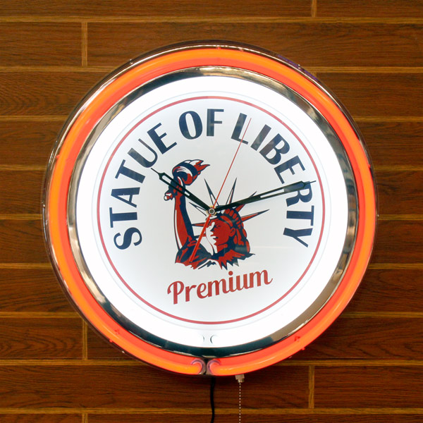 18インチダブルネオンクロック「Liberty」 (自由の女神 ) 大型ネオンクロック 壁掛け時計 インテリア アメリカ雑貨 アメリカン雑貨