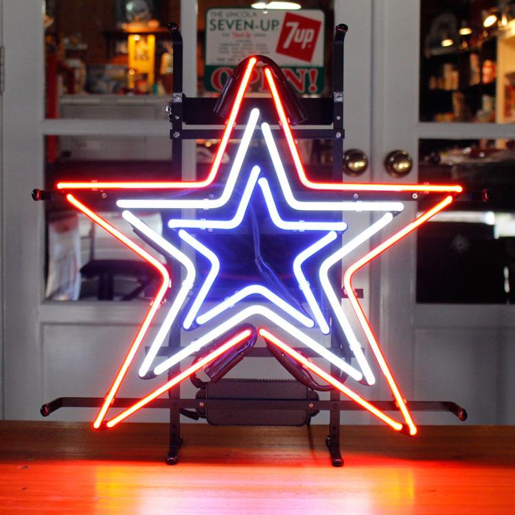 アメリカンネオンサイン STAR (星型デザイン) 縦54×横52cm ガレージ インテリア ネオン管 電飾 店舗装飾 アメリカ雑貨 アメリカン雑貨