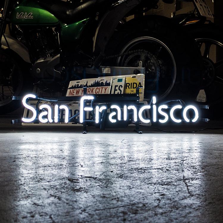 アメリカンネオンサイン San Fransisco サンフランシスコ 文字デザイン 縦17×横70cm バー ガレージ 西海岸 インテリア ネオン管 店舗装飾 アメリカ雑貨