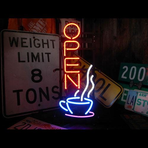 ネオンサイン COFFEE OPEN コーヒー オープン ネオン管 照明 店舗装飾 インテリア ガレージング アメリカ雑貨 アメリカン雑貨