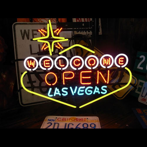 ネオンサイン LASVEGAS OPEN ラスベガス オープン ネオン管 照明 店舗装飾 インテリア ガレージング アメリカ雑貨 アメリカン雑貨