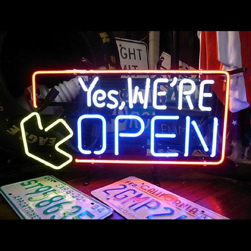 ネオンサイン YES WE'RE OPEN イエスウィアーオープン ネオン管 照明 店舗装飾 インテリア ガレージング アメリカ雑貨 アメリカン雑貨