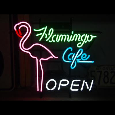 ネオンサイン <FLAMINGO CAFE フラミンゴカフェ> サイズ:H47×W52cm ネオン管 照明 店舗装飾 インテリア ガレージング アメリカ雑貨 アメリカン雑貨