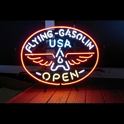 ネオンサイン <FLYING GASOLIN OPEN フライングガソリンオープン > サイズ:36×48cm ネオン管 照明 店舗装飾 インテリア ガレージング アメリカ雑貨 アメリカン雑貨