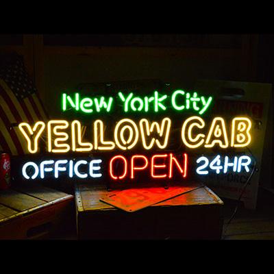 ネオンサイン <YELOOW CAB NEW YORK CITY イエローキャブニューヨークシティー> サイズ:H30×W80cm ネオン管 照明 店舗装飾 インテリア ガレージング アメリカ雑貨 アメリカン雑貨