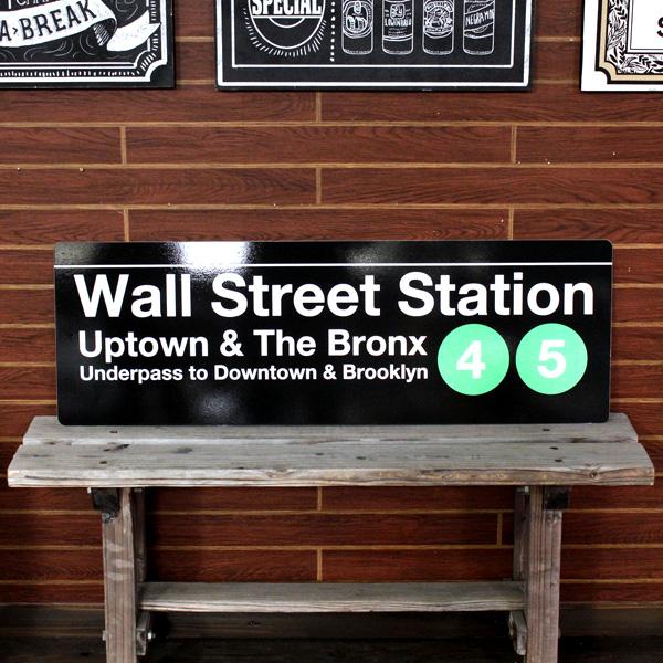 NEW YORK サブウェイサイン (L ) 「Wall Street」 SW-5-L ニューヨークの地下鉄看板 ストリートサイン アメリカ雑貨 アメリカン雑貨
