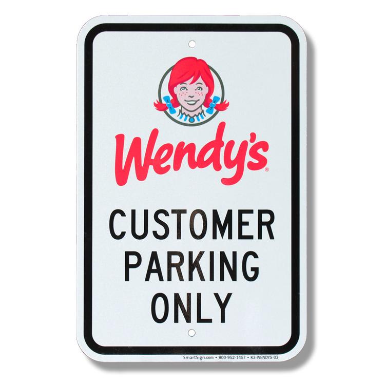 パーキングサイン Wendy's ウェンディーズ 44.5×30.5cm アメリカ製道路標識 デッドストック 標識 アメリカ雑貨