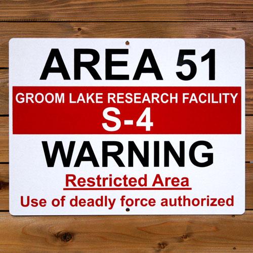トラフィックサイン AREA51 S-4 WARNING アメリカ雑貨 アメリカン雑貨