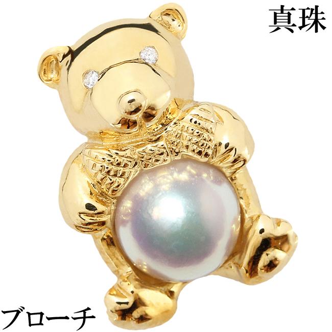 クマ ダイヤ 0.02ct 真珠 パール 7mm 7ミリ K18 ピン ラベルピン かわいい くま【中古】【新品仕上げ済】