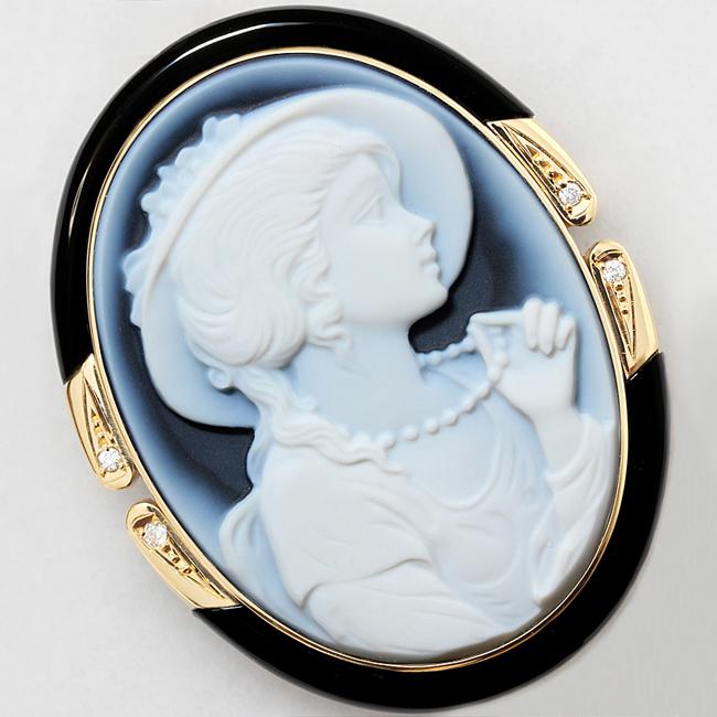ブルー メノウ カメオ ダイヤ 0.056ct オニキス K18 ブローチ ペンダント【中古】【新品仕上げ済】