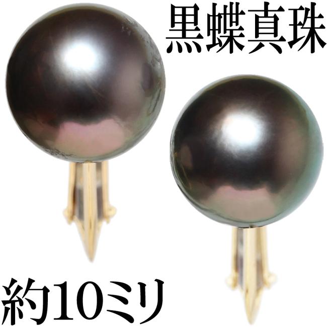 南洋真珠 黒蝶真珠 パール 10mm 10ミリ イヤリング K18【中古】【新品仕上げ済】
