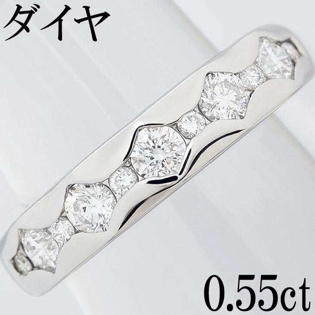 ダイヤ 0.55ct Pt900 リング 指輪 一文字 10.5号【中古】【新品仕上げ済】
