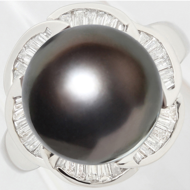 黒蝶真珠 12ミリ ダイヤ 0.63ct リング 指輪 Pt900 13.5号【中古】【新品仕上げ済】