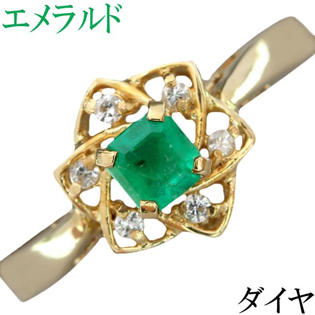 エメラルド ダイヤ リング 指輪 K18 花 11.5号【中古】【新品仕上げ済】