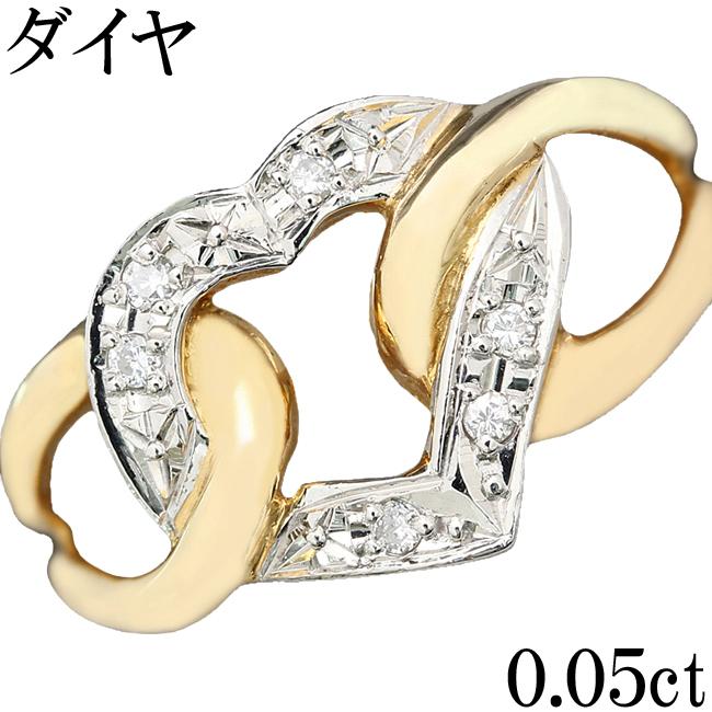 ダイヤ リング 指輪 ハート K18 Pt900 0.05ct 7.5号【中古】【新品仕上げ済】