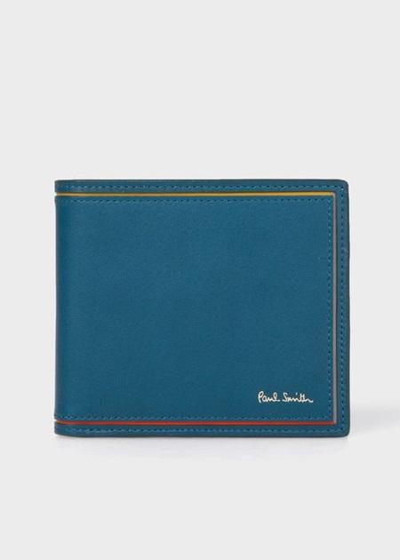 ポールスミス 折財布 ブライトストライプカラーライン 2つ折り財布 ブルー Paul Smith ポール スミス