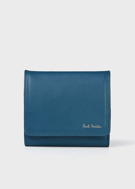 ポールスミス 折財布 ダブルステッチディテール ミニ財布 ブルー Paul Smith ポール スミス