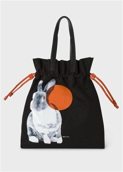 ポールスミス トートバッグ Lucky Rabbit キャンバスバッグ ブラック Paul Smith PaulSmith ポール・スミス