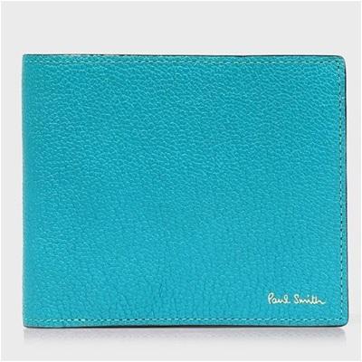 ポールスミス 折財布 カラーブロックゴート 二つ折り スカイブルー Paul Smith PaulSmith ポール・スミス