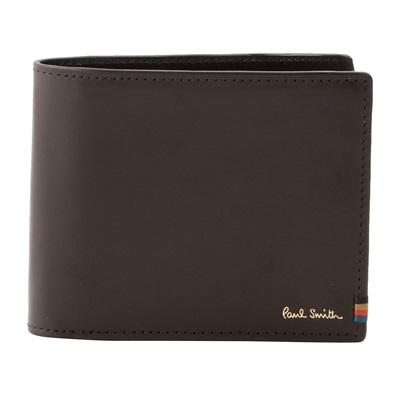 ポールスミス 折財布 STRIPE STITCH TAB 二つ折り ダークブラウン Paul Smith