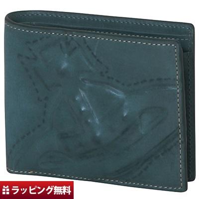 ヴィヴィアンウエストウッド 折財布 メンズ 二つ折り 3D ORB ブルー Vivienne Westwood