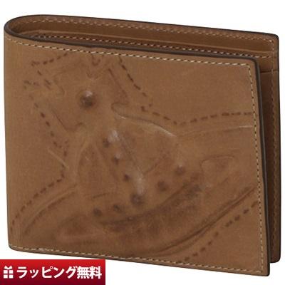 ヴィヴィアンウエストウッド 折財布 メンズ 二つ折り 3D ORB キャメル Vivienne Westwood