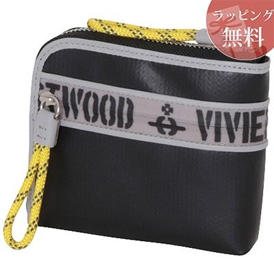 ヴィヴィアンウエストウッド 財布 折財布 二つ折り ファスナープリント ブラック Vivienne Westwood ヴィヴィアン ウエストウッド