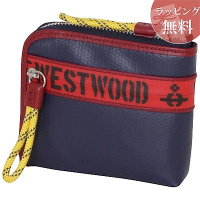ヴィヴィアンウエストウッド 財布 折財布 二つ折り ファスナープリント ネイビー Vivienne Westwood ヴィヴィアン ウエストウッド