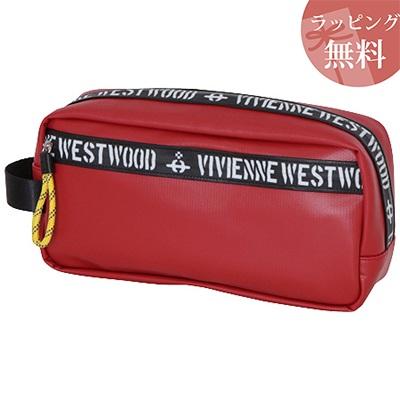 ヴィヴィアンウエストウッド ポーチ クラッチ型 ファスナープリント レッド Vivienne Westwood ヴィヴィアン ウエストウッド