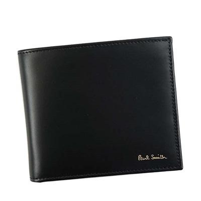 ポールスミス 財布 折財布 二つ折り マルチカラーストライプ ブラック Paul Smith