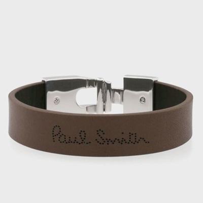 ポールスミス ブレスレット パンチングロゴ レザーブレス ブラウン Paul Smith