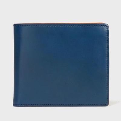 ポールスミス 財布 折財布 PC蝋引きコードバン 二つ折り ネイビー Paul Smith