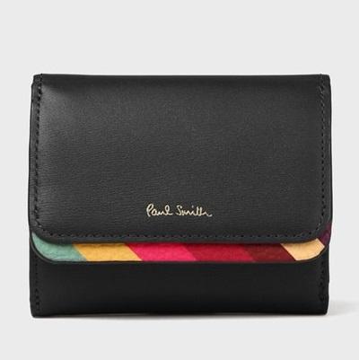 ポールスミス 折財布 スワールトリム 3つ折り財布 ブラック Paul Smith