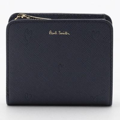 ポールスミス 財布 折財布 二つ折り スミシーハート ネイビー Paul Smith